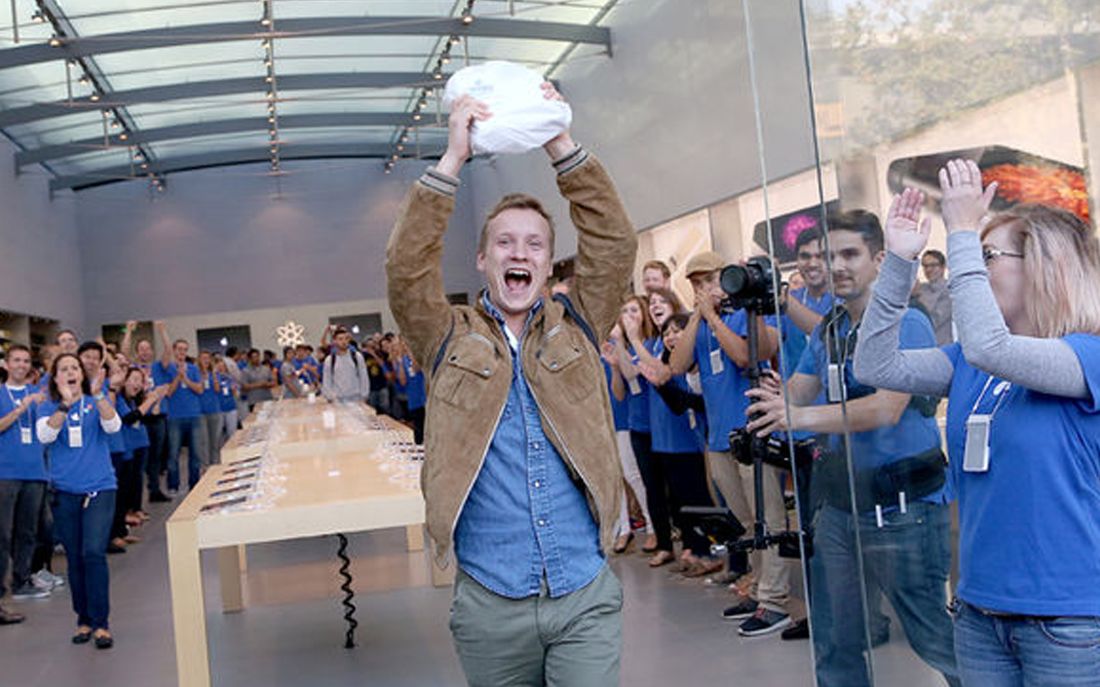 Excited Apple Customer